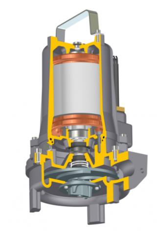 Section Drawing of Javelin Jivex D3010 Submersible Grinder Pump with handle
