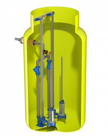 V1220 Vertical Pump Station with Dual Flygt DXG's. 1756Ltr capacity. 1200mm dia x 2000mm deep.