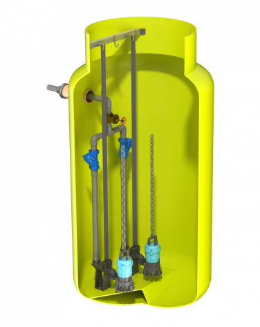 V1230 Vertical Pump Station with Dual Javelin HM10. 2886Ltr Capacity, 1200mm dia x 3000mm deep.