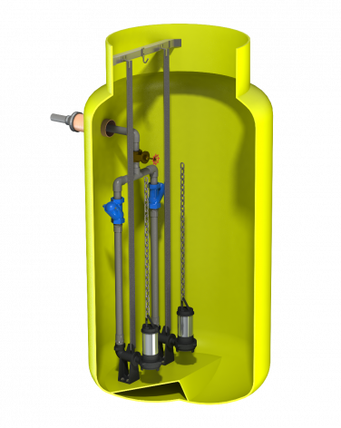 V1220 Vertical Pump Station with Dual Javelin SC10. 1756Ltr Capacity, 1200mm dia x 2000mm deep.