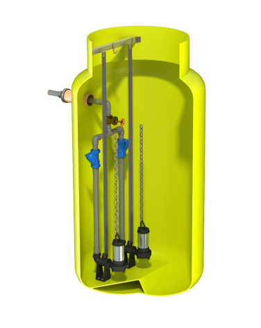 V1225 Vertical Pump Station with Dual Javelin SC10. 2321Ltr Capacity, 1200mm dia x 2500mm deep.