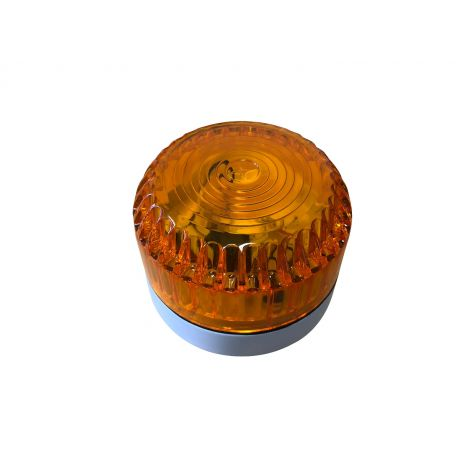 Solex Flashing Beacon with Amber Lens and White Shallow Base