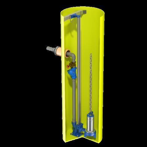 V0925 Vertical Pump Station with Flygt DXG. 1590Ltr capacity. 900mm dia x 2500mm deep.