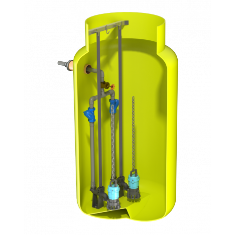 V1225 Vertical Pump Station with Dual Javelin HM10. 2321Ltr Capacity, 1200mm dia x 2500mm deep.