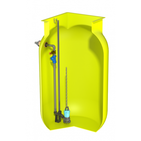 V1520 Vertical Pump Station with Javelin HM10. 3530Ltr Capacity, 1500mm dia x 2000mm deep.
