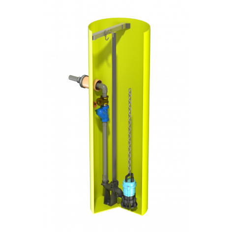 V0625 Vertical Pump Station with Javelin HM10. 706Ltr Capacity, 600mm dia x 2500mm deep.