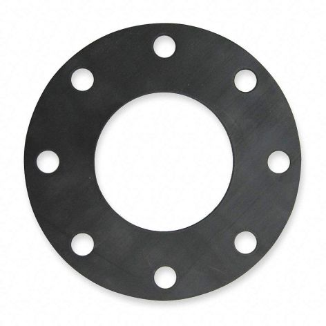 65mm EPDM Full Face rubber gasket, Black with 4 holes